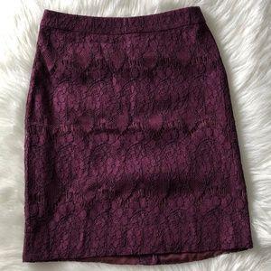 J Crew Purple Lace Pencil Skirt Size 00